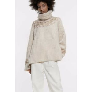 Zara Mohair and Wool Blend Turtleneck Sweater Sm